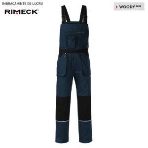Pantaloni cu pieptar de lucru pentru barbati Rimeck Woody, albastru marin