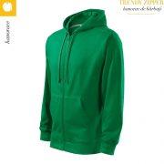 Hanorac barbati Trendy Zipper, verde mediu