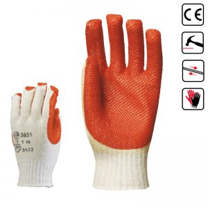 3831 Manusi din latex vulcanizat, culoare orange