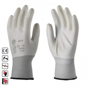 602 Manusi din poliester tricotate, elastice, rezistenta mare alb