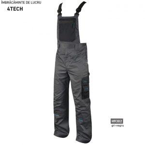 Pantaloni cu pieptar de lucru pentru barbati 4TECH, gri cu negru