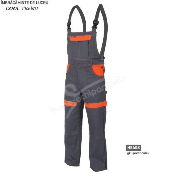 Pantaloni de lucru cu pieptar pentru barbati Cool Trend, gri cu portocaliu