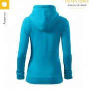 Hanorac dama Trendy Zipper, turcoaz