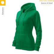 Hanorac dama Trendy Zipper, verde mediu