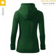 Hanorac dama Trendy Zipper, verde sticla