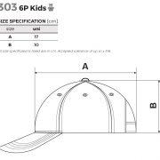 Tabel marimi Sapca copii 6P Kids