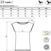 Tabel marimi Tricou tip rochita Love