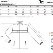 Tabel marimi Jacheta fleece pentru barbati Jacket