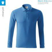 Bluza albastru azuriu polo barbati, Pique Polo