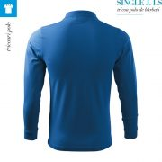 Tricou polo barbati cu maneca lunga Single J., albastru azuriu