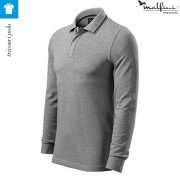 Bluza polo, model gri inchis, pentru barbati, Contrast Stripe LS