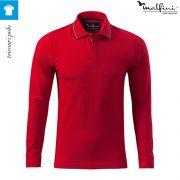 Bluza polo, model rosu, pentru barbati, Contrast Stripe LS