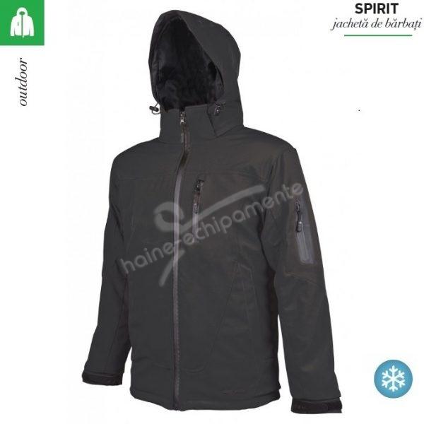 Jacheta neagra softhshell, de iarna, pentru barbati, Spirit