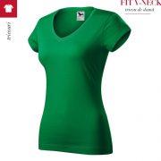 Tricou verde mediu dama, FIT V-NECK