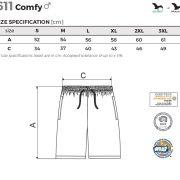 Tabel marimi Pantaloni scurti pentru barbati Comfy