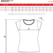 Tabel marimi Tricou dama RESIST R02
