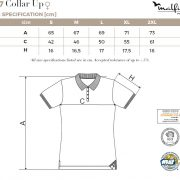 Tabel marimi Tricou polo de dama Collar Up