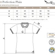 Tabel marimi Tricou polo de dama Perfection Plain