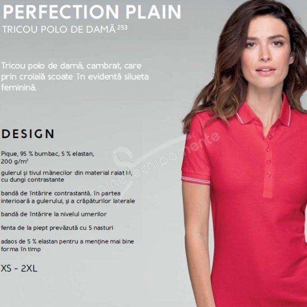 Tricou polo de dama Perfection Plain