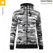 Hanorac dama, model camuflaj gri, Camo Zipper