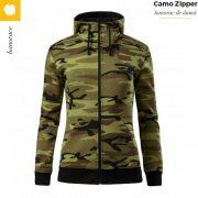 Hanorac dama, model camuflaj verde, Camo Zipper