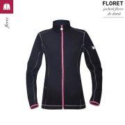 Jacheta neagra, de dama, din fleece, Floret