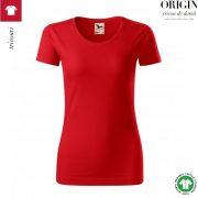 Tricou dama, rosu, din bumbac organic, Origin